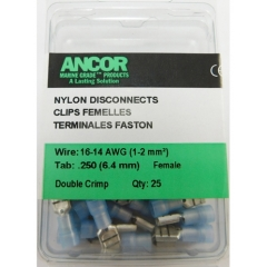 16-14 AWG .250 Nylon Disconnect Terminal 25-Pack